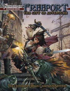 One potential source for adventures: Freeport: City of Adventure (Pathfinder 1st edition)