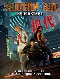 Modern AGE RPG Quickstart Cover Image: Three characters in modern-day garb strike dynamic poses on an urban rooftop, lit from below. Skyscrapers tower in the background.