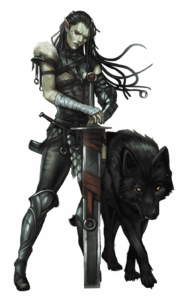 A warrior with her Rhy-wolf companion